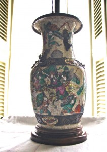 "Antique Oriental lamp, rewired, 29"" tall"