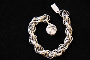 "Heavy sterling silver bracelet with detailed clasp 7 ½"" long when closed"