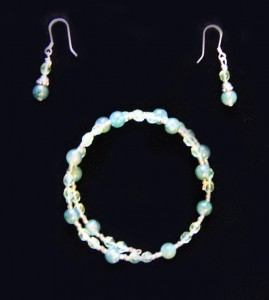 Bracelet and earrings--sterling and Miyuki beads with green glass beads