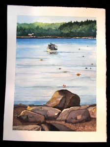 "Watercolor with boat, 12"" h x 8 ½"" w, Nancy Rogers, Woolwich"