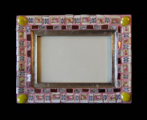 "Mosaic picture frame, outside dimensions 8 3/4"" x 6 3/4"", by Karen Cole, New York City"