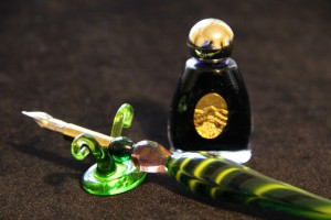 Murano glass pen and ink set