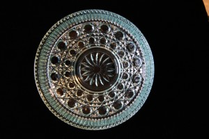 """Blue pressed glass bowl with lid, 7 ½"""" h x 6"""" h with lid - view 1"""