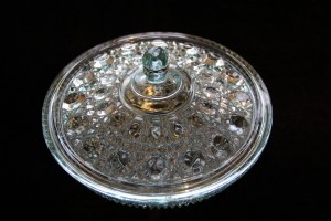 "Blue pressed glass bowl with lid, 7 ½"" h x 6"" h with lid - view 2"