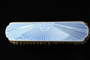 Antique English Sterling Silver & Guilloche Enamel Brush and Mirror Dresser Set - Detail
