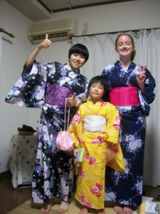 Mallory with her Host Sisters in Tsugaru, Japan