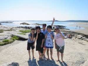 Japanese travelers at Popham Beach